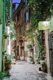 有花的狭窄的街道在老镇Mougins在法国 Ni 免版税库存图片
