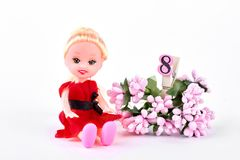 有花的玩偶,第八 库存图片
