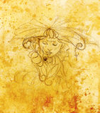有花的神秘的妇女 在纸,颜色作用的铅笔图 免版税库存照片