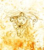 有花的神秘的妇女 在纸,颜色作用的铅笔图 库存照片