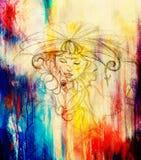 有花的神秘的妇女 在纸,颜色作用的铅笔图 库存图片