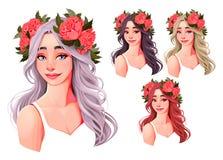 有花的美女在他们的头 向量例证