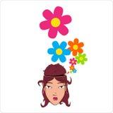 有花的美好的女孩题头 免版税库存图片