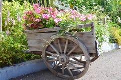 有花的老木推车 库存照片