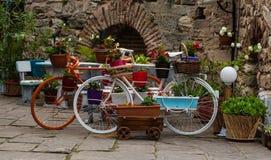 有花的老经典样式葡萄酒自行车 图库摄影