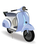 有花的蓝色小型摩托车 免版税库存图片