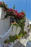 有花的议院在纳克索斯岛,基克拉泽斯 免版税库存照片