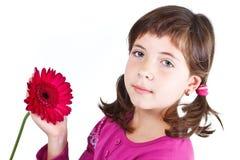 有花的逗人喜爱的女孩 库存图片