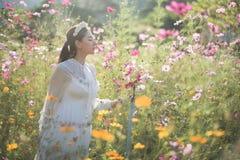 有花的领域的美女 库存图片