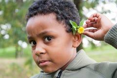 有花的颜色婴孩在耳朵后 免版税库存照片