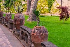 有花的黏土花瓶在欧洲城市的舒适正方形 图库摄影
