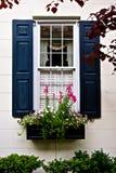 有花的黑窗口快门在花箱子 免版税库存照片
