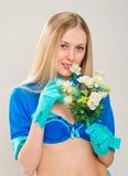 有花的画象空中小姐 库存图片