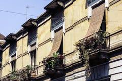 有花盆和房子植物的阳台一个历史建筑的在卡塔尼亚,西西里岛,意大利的传统建筑学 库存图片