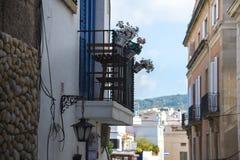 有花盆的阳台 免版税库存照片