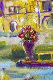 有花红色黄色花束的宏观花瓶在大厦背景的 特写镜头绘画的片段 帆布,油,苍白 皇族释放例证