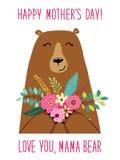 有花花束的,母亲` s天卡片逗人喜爱的动画片妈妈Bear 库存例证