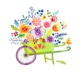 有花逗人喜爱的水彩卡片的独轮车 免版税库存图片