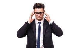 有英俊的商人在白色背景隔绝的头疼 免版税库存图片