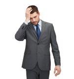 有英俊的商人头疼 免版税库存图片