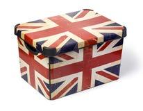 有英国旗子的塑料盒 免版税库存图片