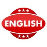 有英语的星的红色按钮 库存图片