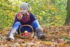 有苹果篮子的女孩  库存图片