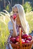 有苹果篮子的美丽的女孩  免版税图库摄影