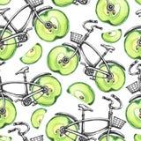 有苹果轮子的水彩无缝的样式自行车 背景五颜六色的例证夏天向量 库存图片