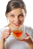 有茶的妇女 免版税库存照片