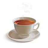 有茶碟的被隔绝的现实白色茶杯 免版税库存照片
