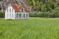 有草和mounta的挪威古色古香的传统木房子 免版税图库摄影