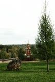 有草坪、石头和杉树的正统教堂 库存图片