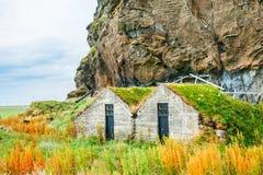 有草屋顶的传统冰岛房子 免版税库存照片
