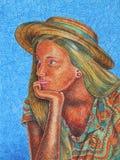有草帽的-与色的铅笔的图画女孩 免版税库存照片
