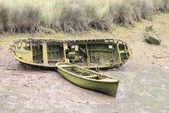 有草的小船 图库摄影