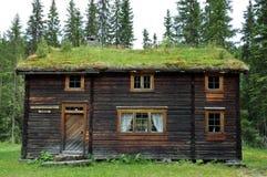 有草皮屋顶的木房子 库存照片