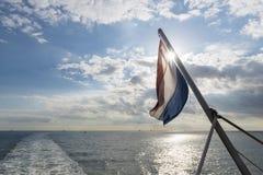 有荷兰旗子的瓦登海 库存图片