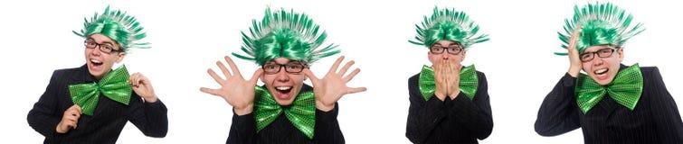 有莫霍克族发型的滑稽的人 免版税库存照片