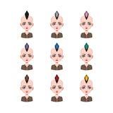 有莫霍克族的- 9种不同头发颜色女孩 库存照片