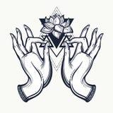 有莲花和神圣的几何的美好的手拉的菩萨手 查出的向量例证 纹身花刺,瑜伽,灵性 库存图片