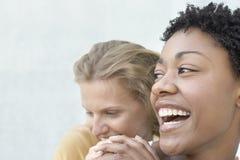 有获得女性的朋友的少妇乐趣一起 免版税库存照片