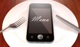 有菜单文本的手机,在板材 库存图片