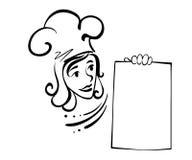 有菜单的女服务员 免版税库存照片