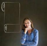 妇女、学生或者老师用菜单纸卷在下巴的清单手 免版税库存照片