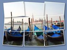 有著名长平底船的威尼斯 免版税库存照片