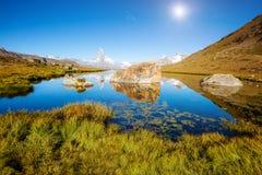有著名高峰马塔角的伟大的全景 地点地方Swis 库存图片