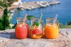 有葡萄柚和橙汁,戒毒所在海景的背景的柑橘水新饮料的三个水罐  图库摄影