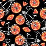 有葡萄柚轮子的水彩无缝的样式自行车 背景五颜六色的例证夏天向量 向量例证