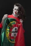 有葡萄牙的旗子的美丽的妇女 库存图片